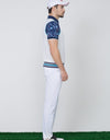 Men's knit vest with logo embroidery, in white, blue and navy stripe trims.