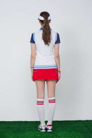Women's knit vest with logo embroidery, in white, blue and navy stripe trims.