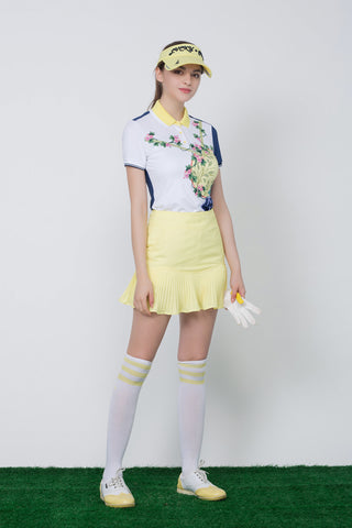 Women's yellow skirt, with pleated hem.