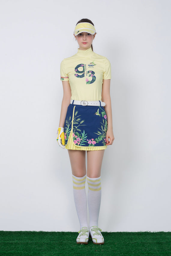 Women's Navy A-Line skirt, yellow pleated lining, floral print.