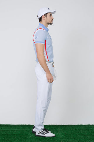 Men's short sleeve polo, blue plaid, red stripes and white color blocking on both sides.