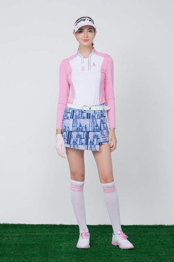Women's skort,  in blue, cycling print, with pink stripes on the side.