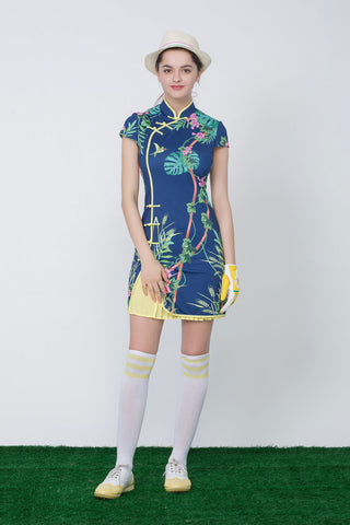 Women's navy mid-length cheongsam, with yellow pleated lining, in floral print.