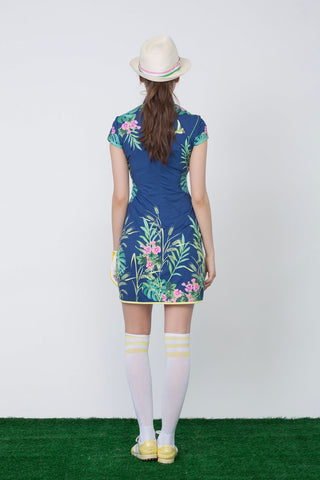 Women's navy mid-length choengsam, with yellow pleated lining, in floral print.