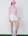Women's long sleeve layering top with mock neck, pink stripes, asymmetric hem.