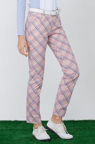 Women's slim pants, in beige plaid print.