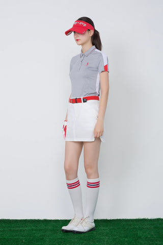 Women's short sleeve polo, with red and white color blocking on sleeves.