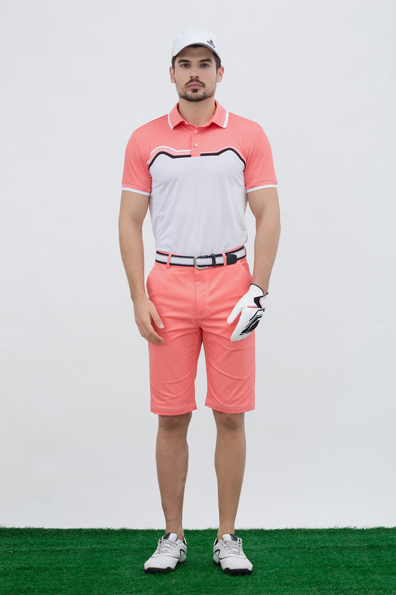 Men's short sleeve polo, with black trim, orange and white color blocking.