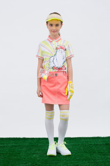 Girl's A-Line skirt,  in pink, with uneven hem.