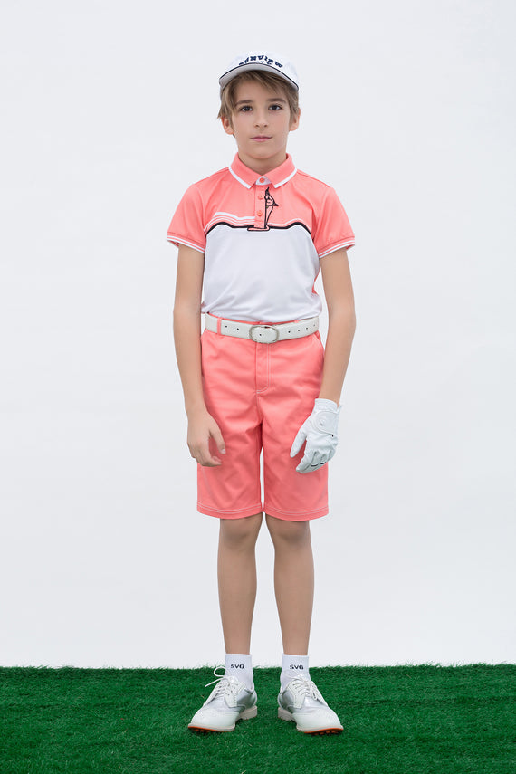 Boy's orange shorts, with contrasting trim.