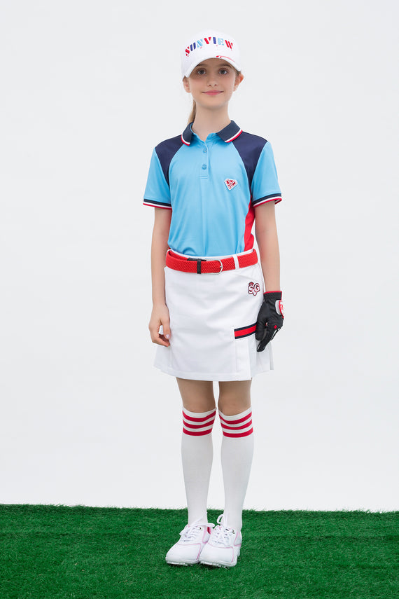 Girl's short sleeve marine polo, in blue, navy and red color blocking.
