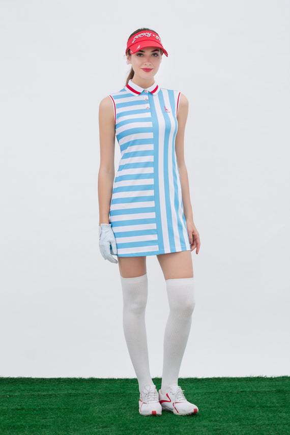 Women's mid-length dress, with all-over  blue and white  stripes, and red trims.