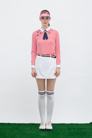 Women's long sleeve polo with removable necktie, in red stripe and unbrella print.