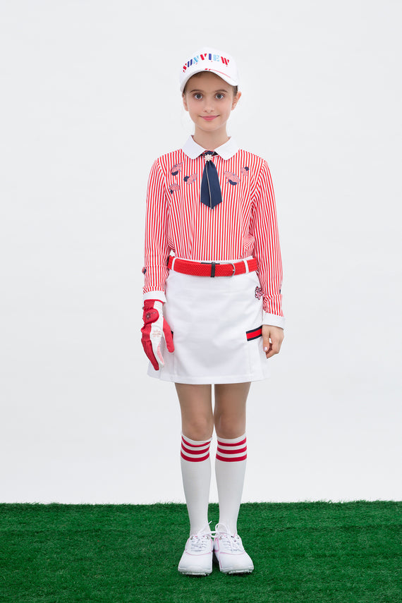 Girl's long sleeve polo with removable necktie, in red stripe and unbrella print.