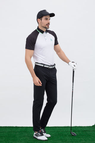 Men's white short sleeve polo, with green stripe trims, black contrasting sleeves