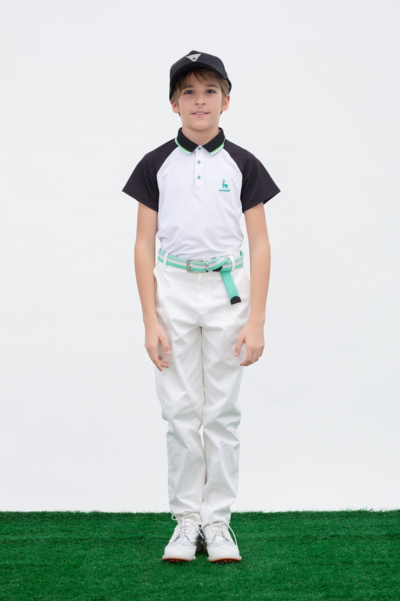 Boy's white short sleeve polo, with green stripe trims, black contrasting sleeves