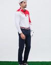 Men's long sleeve polo, in red and white color blocking