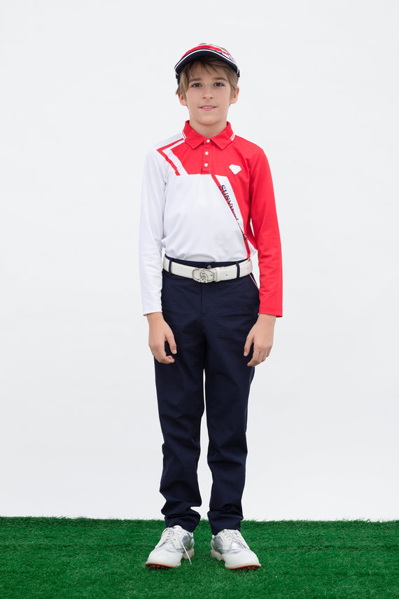 Boy's long sleeve polo, in red and white color blocking