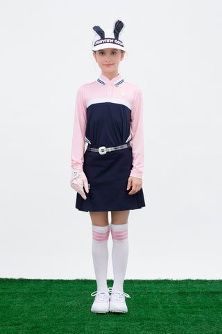 Girl's A-Line skirt with side pleats, in navy