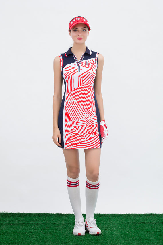 Women's mid-length sleeveless dress, in navy and white color blocking, with red stripes.