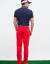 Men's short sleeve polo, with red and white color blocking on sleeves.
