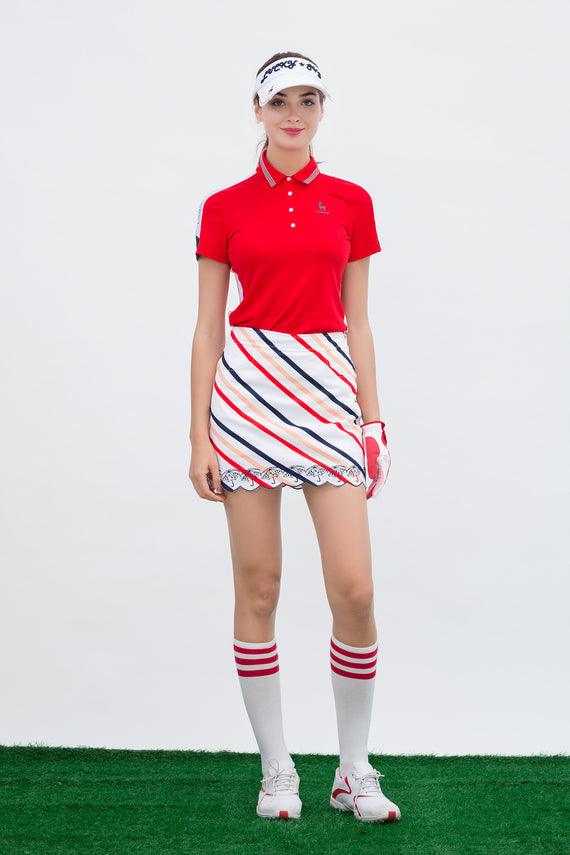 Women's short sleeve polo, with red and white color blocking on sleeves