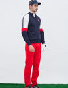 Men's long sleeve cardigan, in navy, white and red color blocking.
