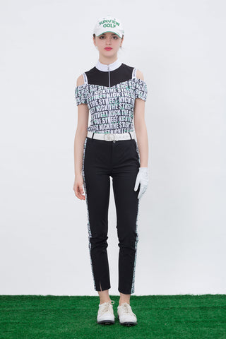 Women's slim pants, in black, letter print on sides.