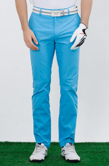 Men's straight pants, in blue.