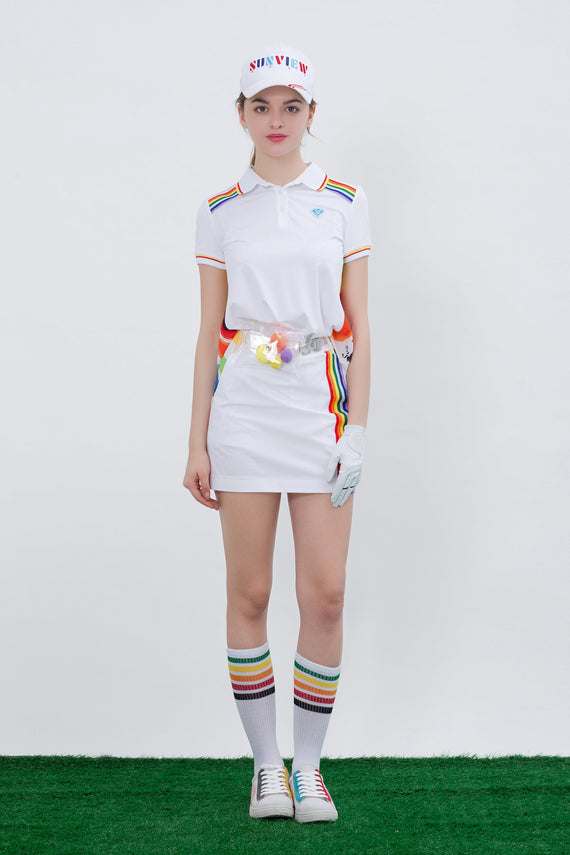 Women's white short sleeve polo, with rainbow stripes on shoulder.