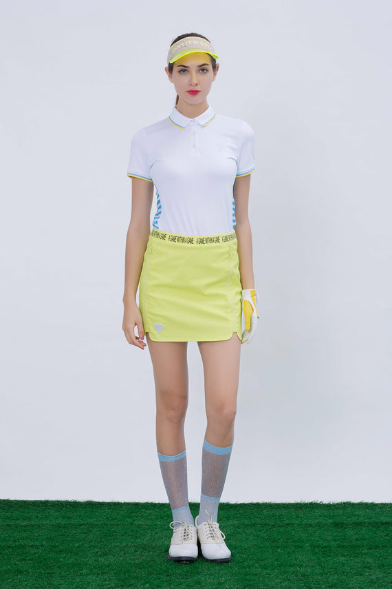 Women's A-Line skirt, in neon yellow, with zipper decoration, letter printed waist band.