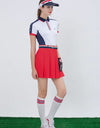 Women's mid-length dress, in white, navy and red color blocking, polo neck.