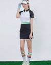 Women's mid-length golf dress in black and white color blocking, pop color waist band, waist-control.
