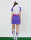 Women's mid-length golf dress in purple and white color blocking, pop color waist band, waist-control.