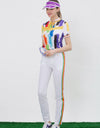 Women's short sleeve shirt, stand collar with neck tie, rainbow blast print.