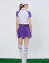 Women's purple A-Line skirt with rainbow waist tie, back pockets.