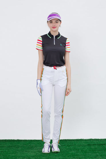 Women's short sleeve polo with zipped collar, in black, rainbow stripes on sleeves.