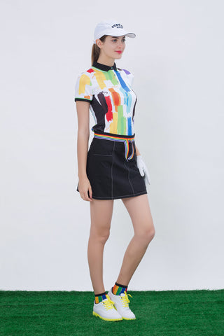 Women's black A-Line skirt with rainbow waist tie, back pockets.