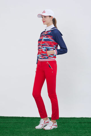 Women's long sleeve jacket with marine collar, camouflage print, contrasting navy sleeves.