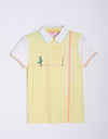 Girl's short sleeve polo, in light yellow and putting print.