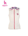 Women's double-sided down vest, in white or all-over floral print.