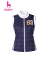 Women's padded zip-up vest, in white and navy color blocking.