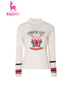 Women's long-sleeve sweater, in white and Christmas print.