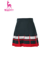 Women's A-line skirt, with white and red accents, in green.