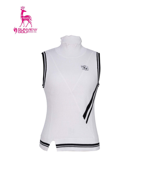 Women's knit vest with stand collar, in white and black stripe trims.