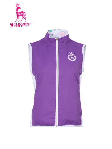 Women's double-sided vest with stand collar, in purple or all-over floral print.