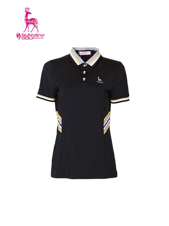 Women's short sleeve polo with yellow stripe trims, in black.