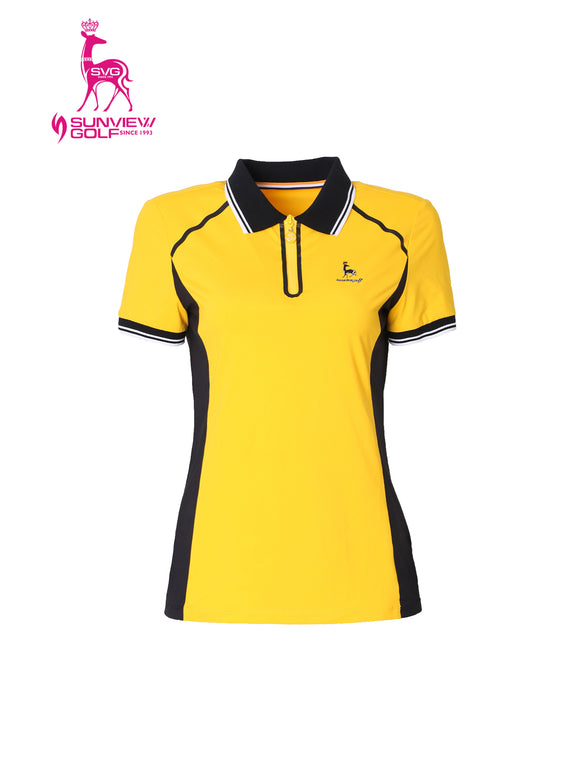 Women's short sleeve polo, in black and yellow color blocking.