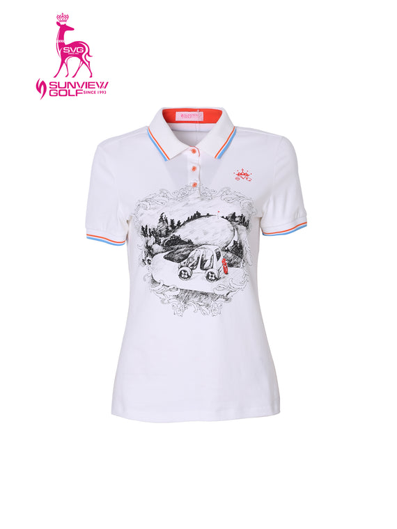 Women's short sleeve polo, in white and hand-drawn art print.