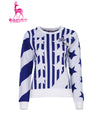 Women's long sleeve sweater, with color-blocking stars and stripes.
